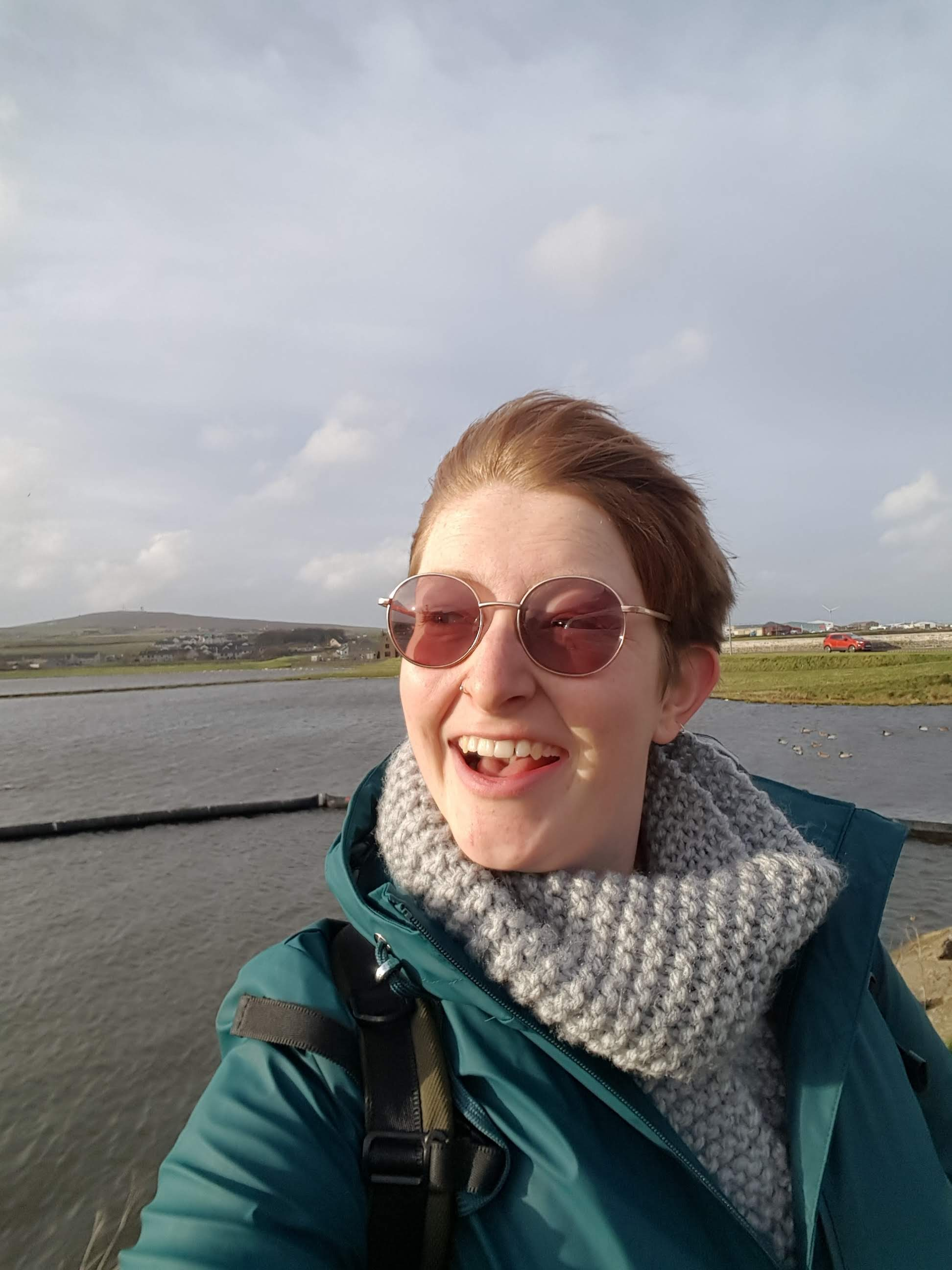 selfie of Fidra in the wind in kirkwall orkney