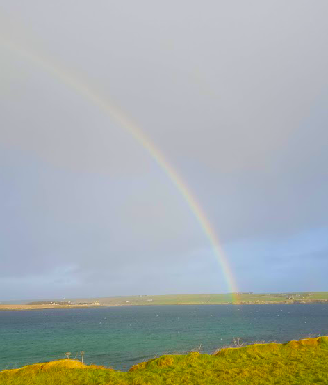 Rainbow over the water on Orkney