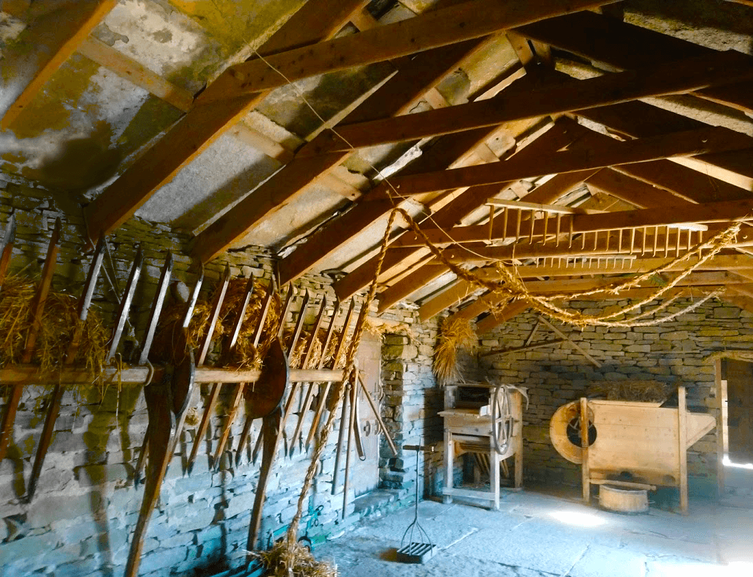 corrigall farm museum barn has original period pieces and recreation of straw rope from old techniques