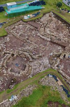 Ness of brodgar excavation site from above showing complex structures