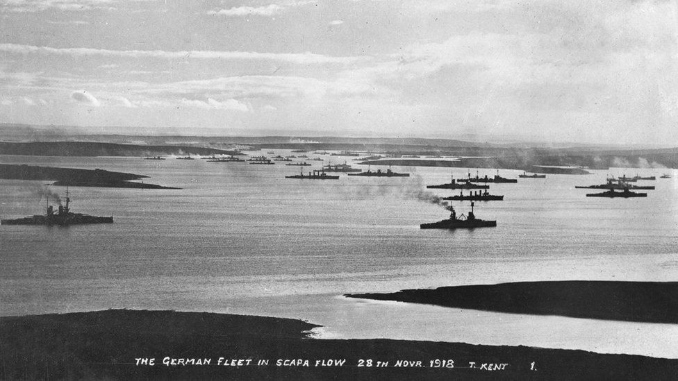 photo from 24 november 1918 of the german high seas fleet in scapa flow