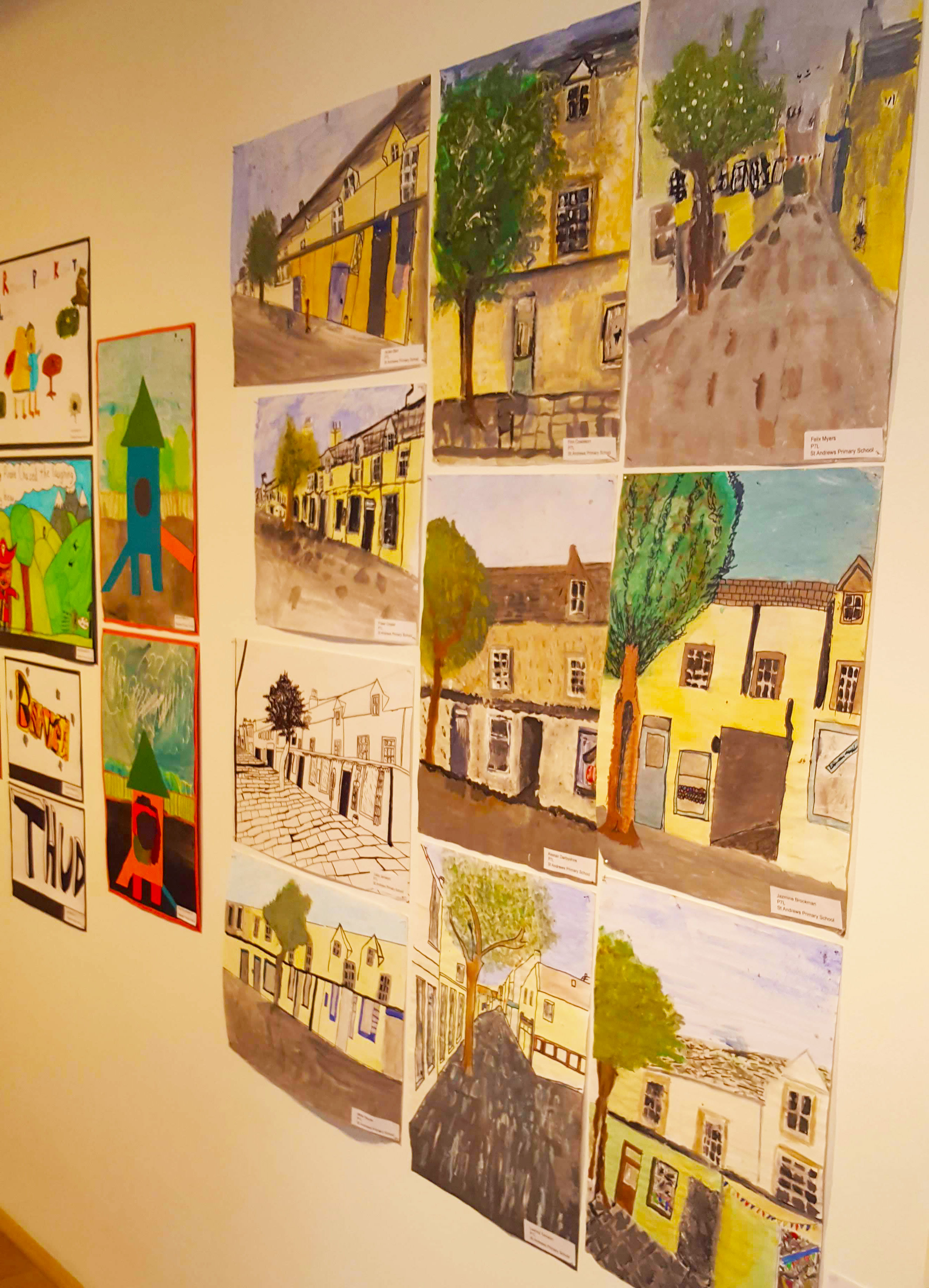 Artwork of Orkney buildings by local children in Pier Arts Centre Stromness.