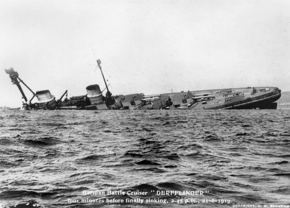black and white photo of The battlecruiser Derflinger just four minutes before it disappeared beneath the surface