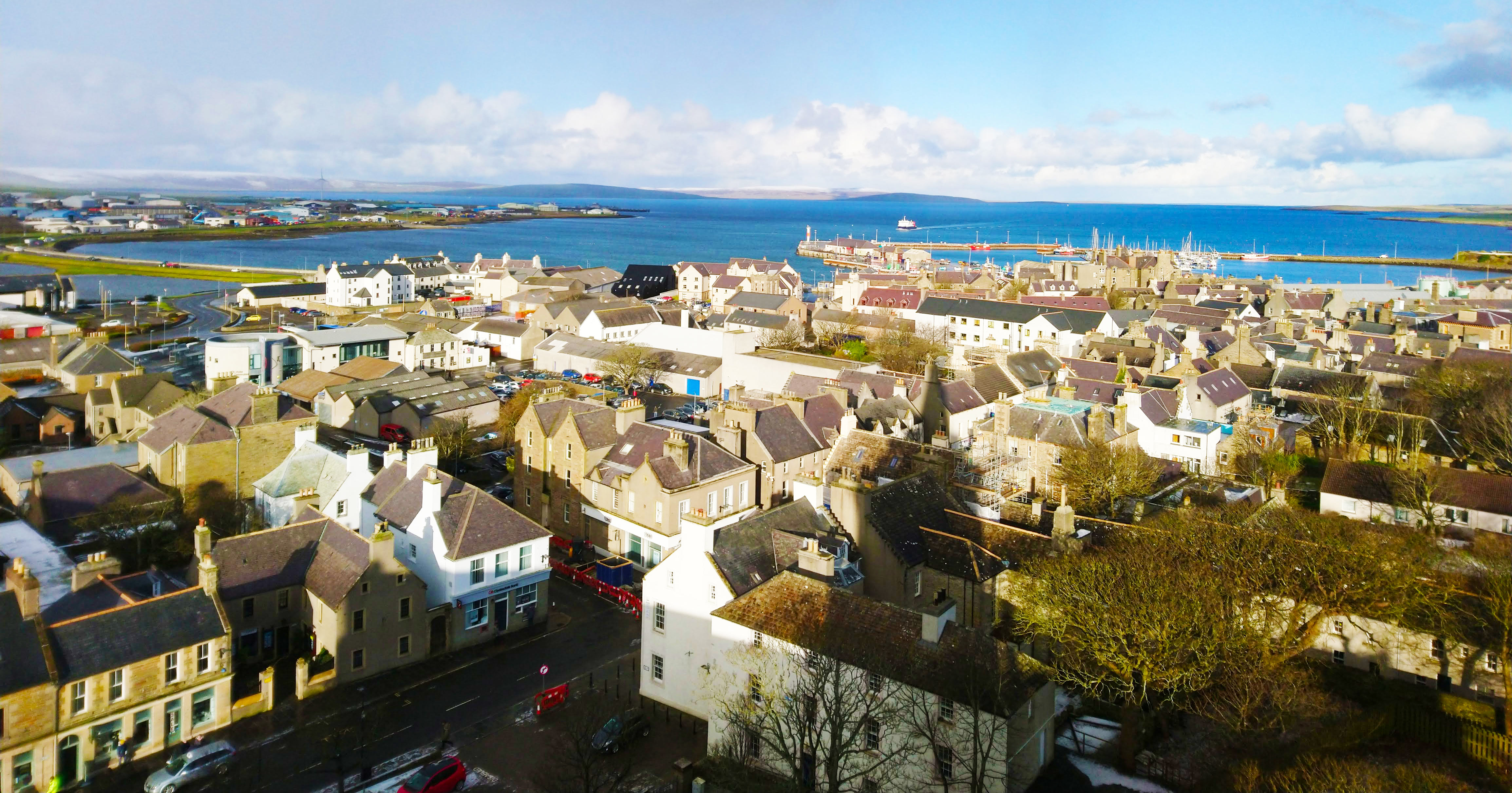 view of Kirkwall town and harbour from st magnus cathedral.