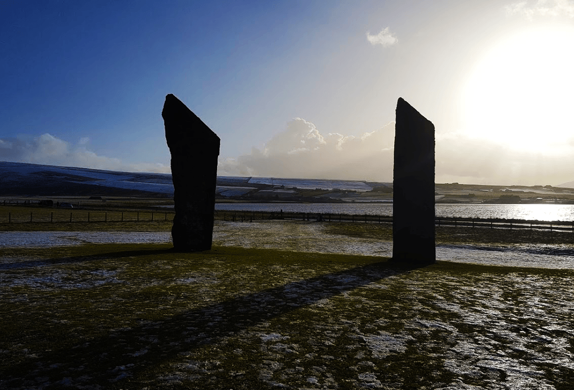 the standing stones of stenness in the febuary snow
